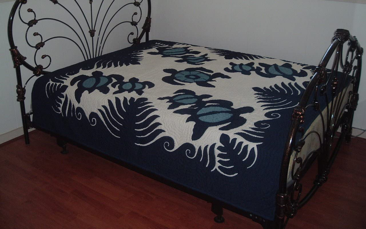 Hawaiian Quilt Bedspread Wall Hanging 100 Hand Quilted And 100 Hand Appliqued 80 X 80 Alohalane